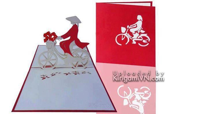 Xe dap ao dai Viet Nam pattern kirigami