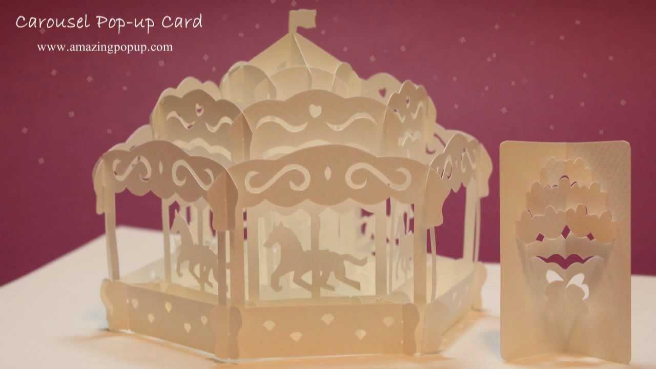 carousel pop-up card book - đu quay xe ngựa
