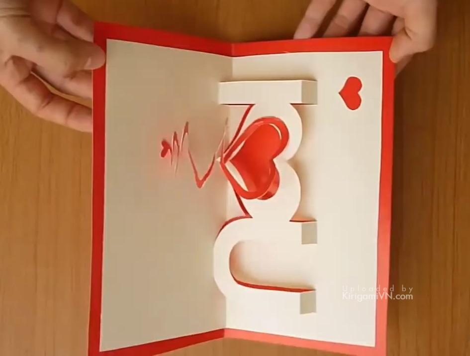 Thiệp 3D Valentine I Love You